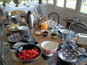 Fruits de saison et produits locaux du tarn à la table du petit déjeuner de la maison d'hôtes